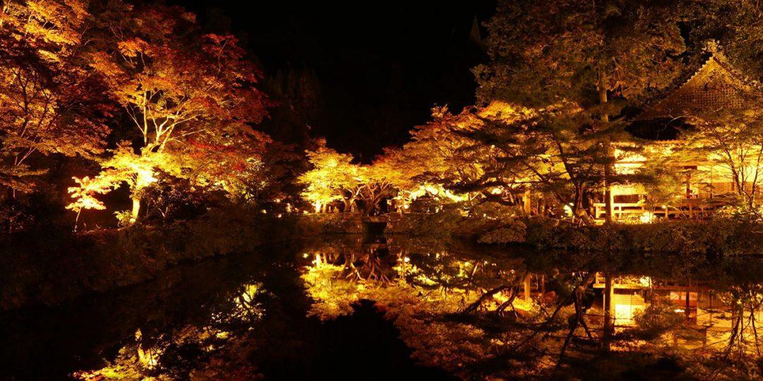 豊後大野市・宝生寺のライトアップ