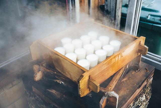 蒸され中のプリン