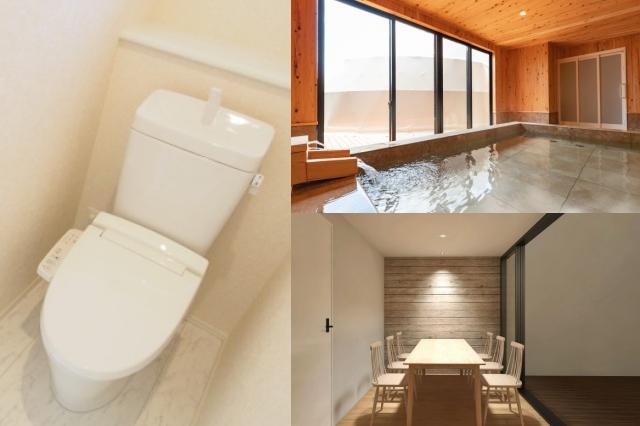 グランシア別府鉄輪の各部屋に備え付けられた、トイレ・温泉風呂・ダイニング
