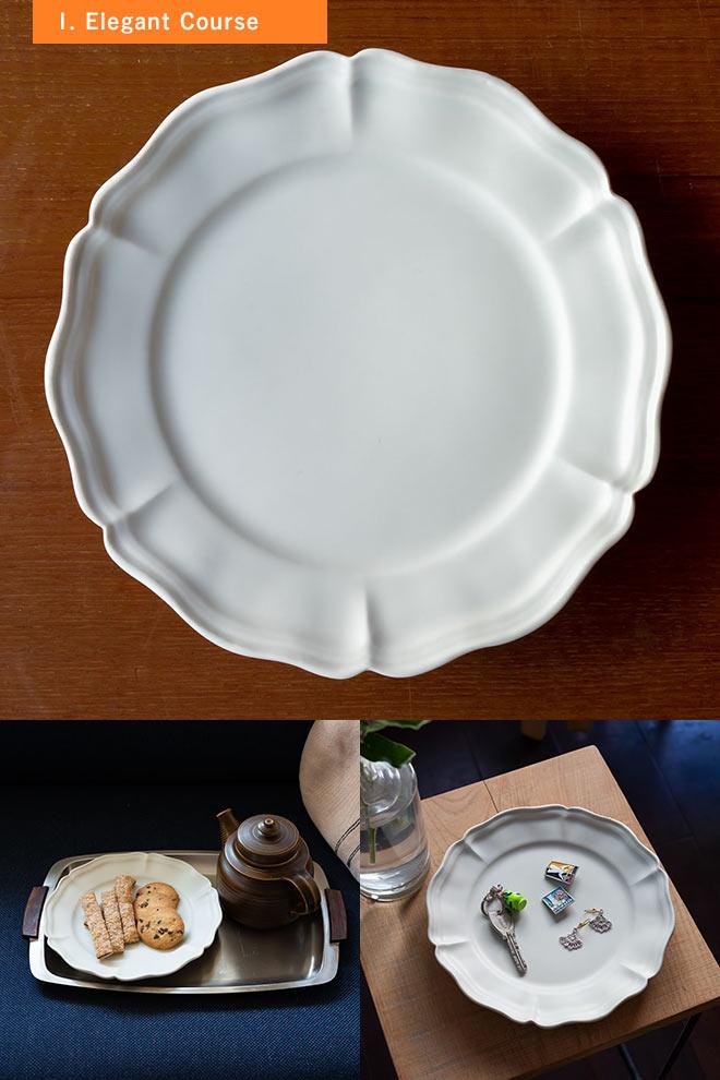 臼杵焼の六弁リム皿