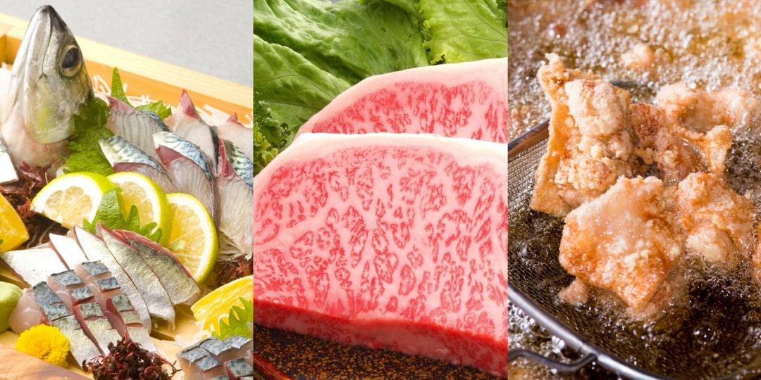 魚、肉、からあげのコラージュ写真